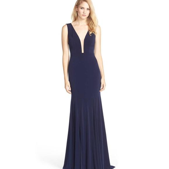 Jovani Dresses | Navy Illusion Plunge Neckline Prom Dress | Poshmark